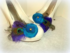Bridal Shoe Clips  Bright Peacock Feathers Purple by ShoeClipsOnly, $38.00