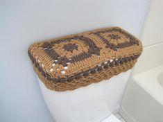 Crochet Granny Square Toilet Tank Lid Cozy taupe heather/warm