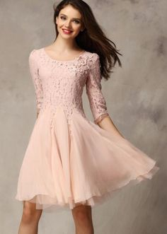 Pink Half Sleeve Lace Bead Chiffon Dress. So pretty!