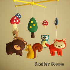 "Baby crib mobile, forest mobile, animal mobile ""Forest friends"" - Fox, Squirrel, Owl, Bear, Raindeer"