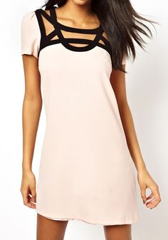 Light Pink Patchwork Hollow-out Wrap Polyester Dress