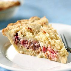 Rhubarb Custard Coconut Crumb Pie-- a slice for dinner and another for breakfast!