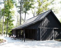 Attractive Country Barn Presented in Pure Black: Traditional Garage And Shed County Line Barn Side View ~ WBTOURISM Architecture Inspiration Black Shed, Black Barn, Black House, Garage Design, House Design, Barn Door Designs, Barns Sheds, Shed Homes, Kit Homes
