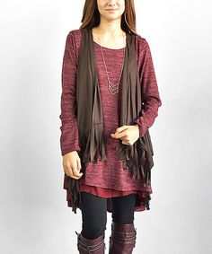 Another great find on #zulily! Brown Faux Suede Fringe Open Vest #zulilyfinds