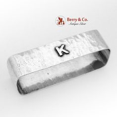 "Hand made sterling silver rectangular form napkin ring having hammered surface and applied monogram ""K""; marked Made by Lebolt & Co. Hammered Silver, Antique Silver, Sterling Silver, Napkin Rings, Surface, Monogram, Product Description, Handmade, Accessories"