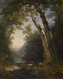 "The Catskills by Asher Brown Durand, reflects the ""sublime landscape"" approach employed by the Hudson River school of painting"