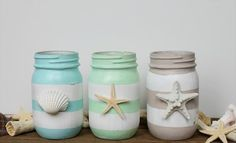 You would be amazed to see these lovely 20 DIY Mason jar ideas for the decor, storage, planting, and other fun purposes for your home. Adding some paint, Mason Jar Projects, Mason Jar Crafts, Diy Projects, Diy Crafts With Mason Jars, Beach Theme Bathroom, Beach Room, Bathroom Ideas, Vanity Bathroom, Bathroom Art