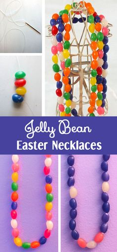 Looking for a fun Easter Craft - how about Jelly Bean Easter Necklaces? So easy to make and so cute to wear (and eat! ) Follow us for more great Easter Craft ideas!