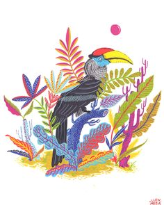 """llewmejia: """" The Great Hornbill reinterpreted through a gouache painting I made. Hope you like it! """""""