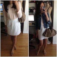 LOFT pleated top and skirt, J.Crew denim jacket, Zara sandals, Gucci bag