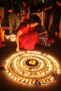 Make patterns with frameless candles?  Could be creepy...  Diwali Festival of Lights | India - the light without