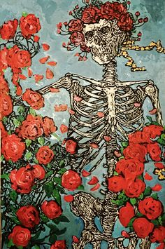 Grateful Dead's Skull and Roses Painting by artist Matt Pecson, Acrylic Painting, Original Painting, Canvas Wall Art