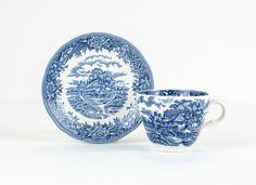Antique Tea Cup and Saucer Blue and White English by tawneyvintage, $18.00