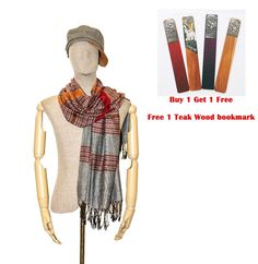 Gray Striped Handmade Scarf Shawl Wrap Silk Cotton Scarves Pashmina Cape Large #Handmade #Scarf