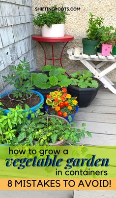 container gardening You can grow a vegetable garden even if you only have a small patio, deck, or apartment balcony to work with. Heres the beginner mistakes I made, and how you can avoid them and grow a garden in pots and containers. Patio Garden, Plants, Growing Vegetables In Pots, Patio Container Gardening, Planting Herbs, Container Gardening Veggies, Container Gardening, Easy Garden, Garden Stand