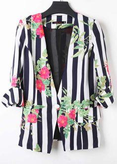White Black Striped V-neck Flowers Print One Button Blazer
