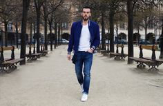 """""""This blue suede bomber jacket really stood out to me and I had to have it"""" - Pasquale for Tommy Hilfiger. Blue Bomber Jacket, Street Style 2016, Partners In Crime, Blue Suede, White Sneakers, Tommy Hilfiger, Photoshoot, Mens Fashion, Guys"""