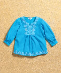 Aqua & White Embroidered Peasant Top - Infant & Toddler by Gypsy Kids