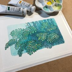 "588 Likes, 13 Comments - Naomi VanDoren (@naomivandoren) on Instagram: ""A little monstera plant sketch with Dr. Ph. Martin's vibrant concentrated watercolors. I love this…"" Plants Watercolor, Watercolour Drawings, Sketch Painting, Watercolor And Ink, Watercolor Paintings, Art Drawings, Jungle Drawing, Jungle Art, Plant Painting"