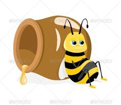 Bee and Honey Pot  #GraphicRiver         Editable EPS, Render in JPG format     Created: 28April13 GraphicsFilesIncluded: JPGImage #VectorEPS Layered: No MinimumAdobeCSVersion: CS Tags: bee #cartoon #characters #childhood #children #colorful #cute #empty #funny #graphic #happiness #happy #honey #insect #kid #lovely #nature #pollen #pot #sky #sleep #smile #stomach #summer #sweet #white #wild #wildlife #wing #yellow
