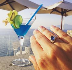 A massive congratulations to our wonderful clients in Sorrento, Italy with their bespoke rose gold & sapphire engagement ring.