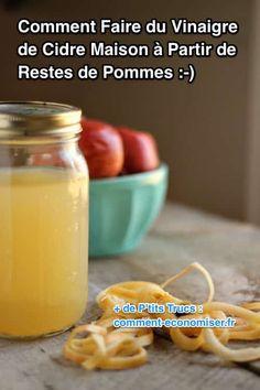 How to make apple cider vinegar from leftover apples. Make Apple Cider Vinegar, Peeling, Fermented Foods, Kefir, Presque Rien, Herbal Remedies, Food Hacks, Cooking Tips, Diet Recipes