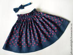 """Детская юбка """"Кокетка"""" - в горошек,синяя юбка,юбка в розовый горошек,юбка с повязкой для волос Girls Dresses, Sewing, Children, Boys, Skirts, Fashion, Dresses Of Girls, Young Children, Baby Boys"""