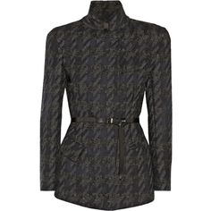 Donna Karan New York Belted houndstooth wool-blend jacket (23.027.745 VND) ❤ liked on Polyvore featuring outerwear, jackets, black, houndstooth jacket, wool blend jacket, black jacket, leather belt and donna karan