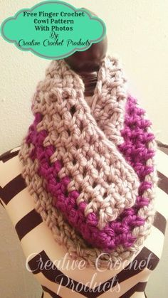 *Creative Crochet products*: Finger crochet cowl pattern with photos FREE PATTERN