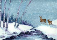 "Andrea's Art Studio ""Silent Step"" watercolor by Andrea Levasseur"
