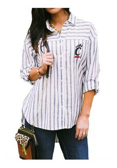 Cincinnati Bearcats Gameday Couture Womens White I'll Be Back Long Sleeve Dress Shirt