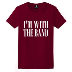 I'm With The Band Unisex T-Shirt White Black Grey Maroon S M L XL ($14) ❤ liked on Polyvore featuring tops, unisex tops, print top, thermal tops, white and black top and gray top