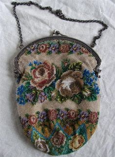 Top Antique Dutch Silver Purse Very Fine Micro Beaded Beadwork Roses 1920 | eBay