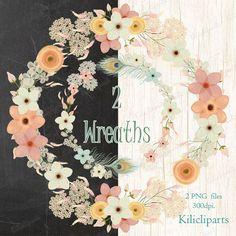 Boho Wreaths, Wedding clipart, flowers  Wreaths, Floral Wreaths, flowers, digital flowers clipart, instant download.