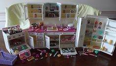 1996 Tyco Littles Kitchen Set Stove, Refrigerator, Sink, Pots & Food Toys