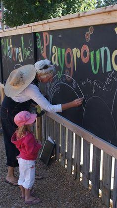 Natural Playground #Sandbox Preschool like the idea of having a black board....