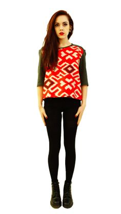 CLOTHING Jutka & Riska - SHIRTS, BLOUSES & TOPS - SHIRTS grey with red front aztec