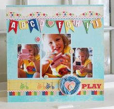 Good way to use multiple pics of same thing--not all picture perfect. Also like use of scallop on top border--different. Like the use of color stripe paper.