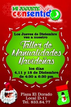 Todos los #jueves de Diciembre tendremos #taller de #manualidades para #niños de 3 a 10 años. ¡Te esperamos! #Navidad