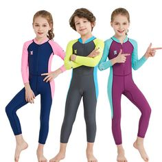 35d247d58d Lycra Long Sleeve Children Wetsuit Boys Girls One Piece Kids Diving Suit UV  protection Swimwear Surfing
