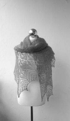 Grey shawlhand knitted kid mohair lace shawl by DagnyKnit on Etsy, $65.00