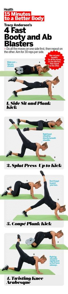 """""""When women come to see me, the two places they want to tackle first are the core and glutes,"""" says Tracy Anderson, Health's contributing fitness editor. Lose your gut and boost your but with this four-move workout routine   Health.com"""