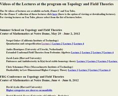 Notre Dame : Topology and Field Theory         http://www.nd.edu/~stolz/field_theory_videos.html