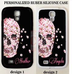 BLACK PINK FLORAL SKULL MONOGRAM PHONE Case For Samsung Galaxy S7 S6 S5 NOTE 7 5…