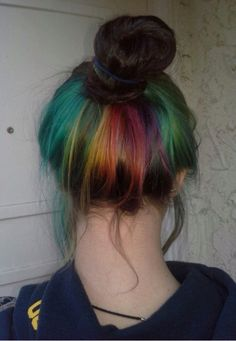 Super cute rainbow hair under layer dyed