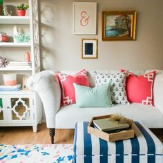 Mixed prints with bright pink accents