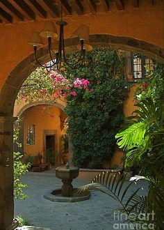 Courtyard 1 Greeting Card for Sale by Nicola Fiscarelli Mexican Hacienda, Mexican Courtyard, Hacienda Style Homes, Spanish Courtyard, Tuscan Style Homes, Mediterranean Style Homes, Mediterranean Architecture, Home With Courtyard, Spanish Hacienda Homes