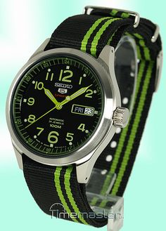 SEIKO 5 Sports Mens Automatic Black & Lime Green Face Nylon Strap SRP273J1.  ....Get rid of that nasty strap and add a nice quality leather NATO.... Hmmm?