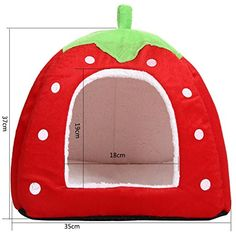 YIR Cute Pet Strawberry Puppy Kitten Soft Bed House Animal Nest for Dog Cat (m, red) *** Read more reviews of the product by visiting the link on the image. (This is an affiliate link) #DogBeds