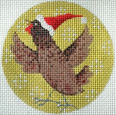 "Brown Chicken Xmas Circle Needlepoint by Kirk & Bradley Style: KB294 Size: 4"" round Mesh Count: 13"